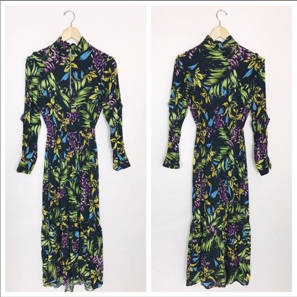 Bershka   Floral Printed Ruffle Maxi Dress